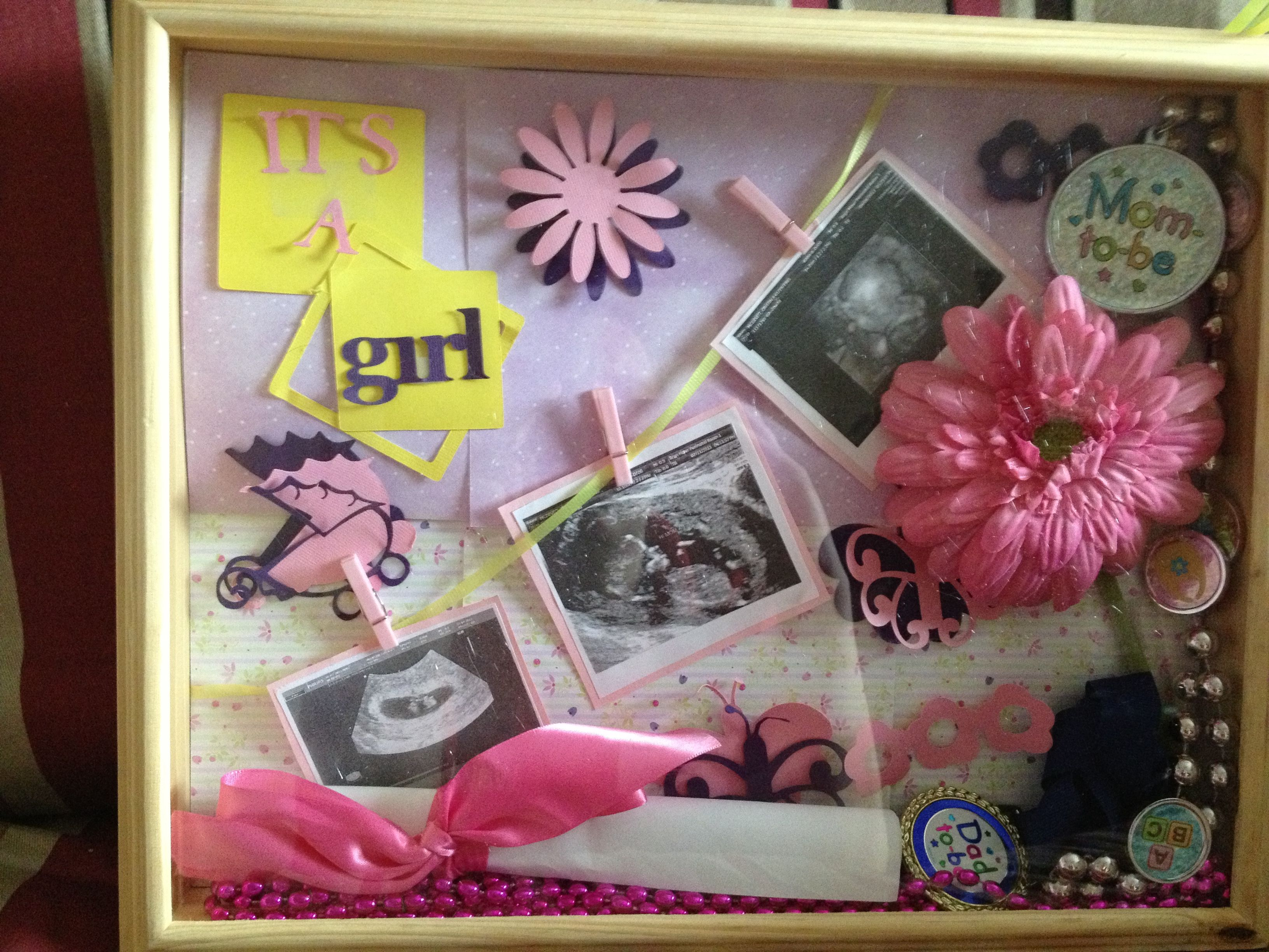 Shadow box for baby girl after gender reveal party | Baby DIY ...
