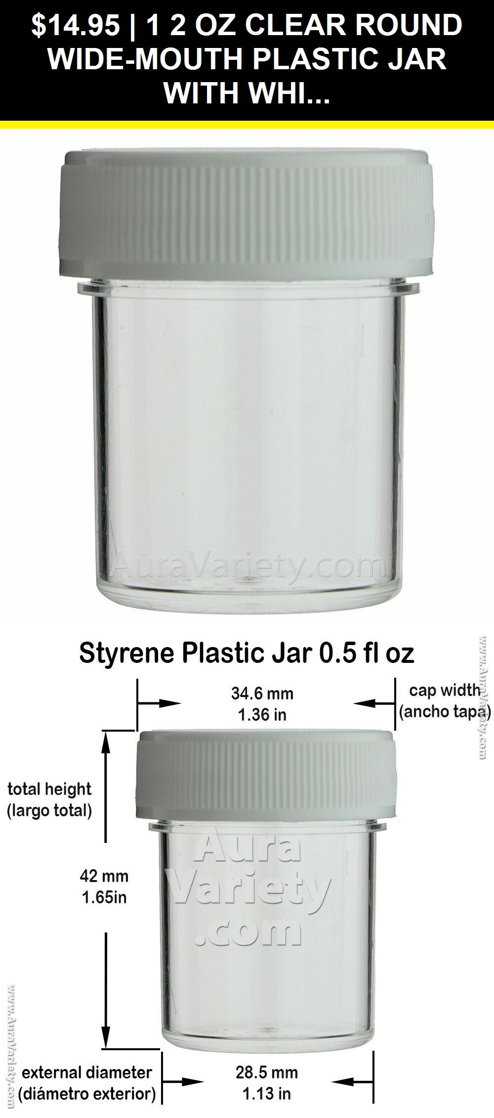 1 2 Oz Clear Round Wide Mouth Plastic Jar With White Screw Cap 12 24 72 144 288 Ebay Plastic Jars Jar Mini Bottles