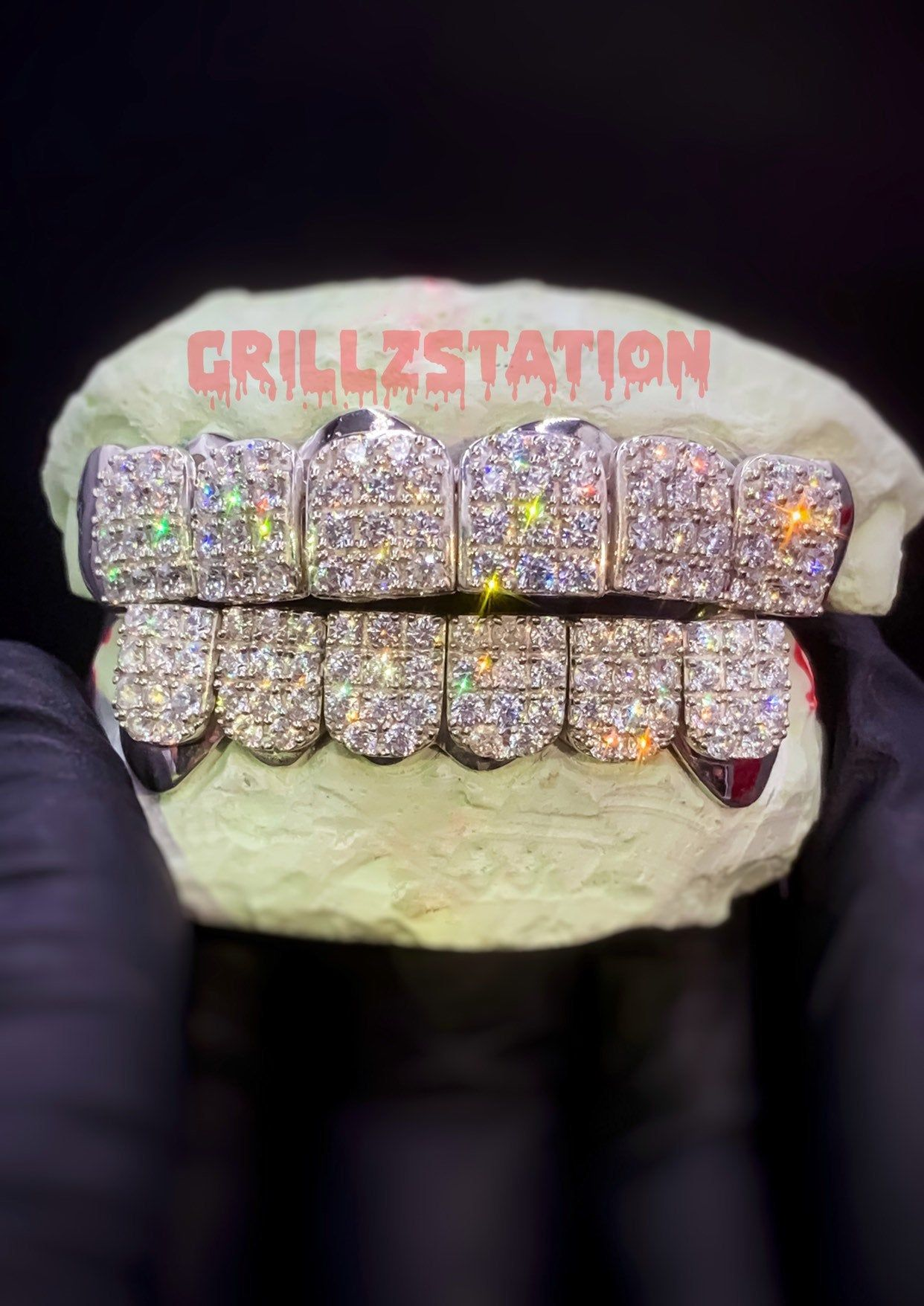 6 Top And Bottom Custom Grillz With Cz Lab Diamond Prongset Block