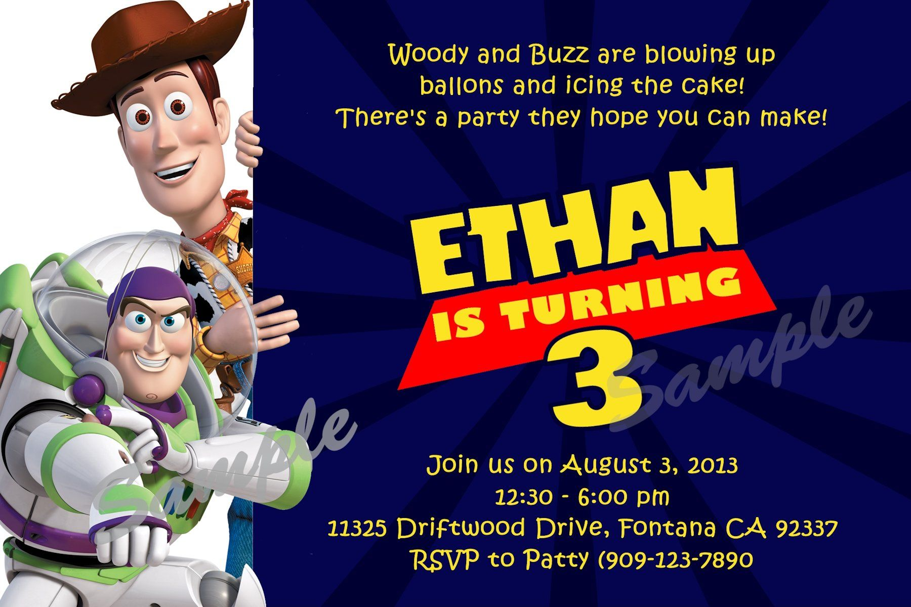 Toy Story Birthday Invitation Digital and printable invite in 4x6 ...