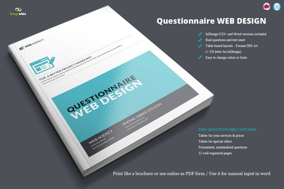 Questionnaire Web Design Web Design Brochure Design Template Website Template Design