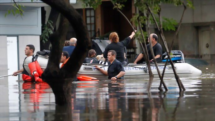 A combination of torrential rains and violent winds have inundated Buenos Aires, capital of Argentina. At least five people have died.  Read more: http://www.digitaljournal.com/article/347142