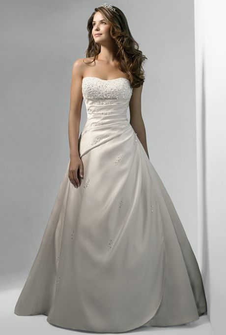 93cc3293f Brides: Alfred Angelo. Strapless satin gown with a heavily beaded bodice,  draped body with apron front skirt, and chapel train.