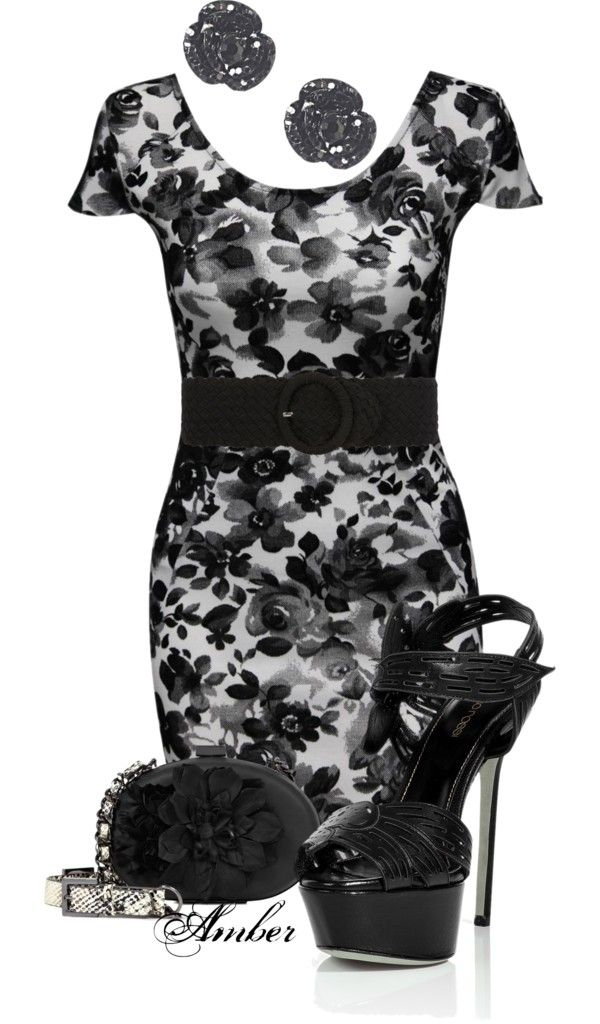 """""""Black Floral"""" by stay-at-home-mom on Polyvore"""