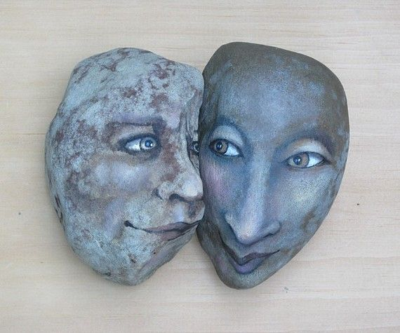 Distinct yet similarly dappled stones unite this unusual pair. Set makes a very special gift! May be used at home or office, or in the garden.