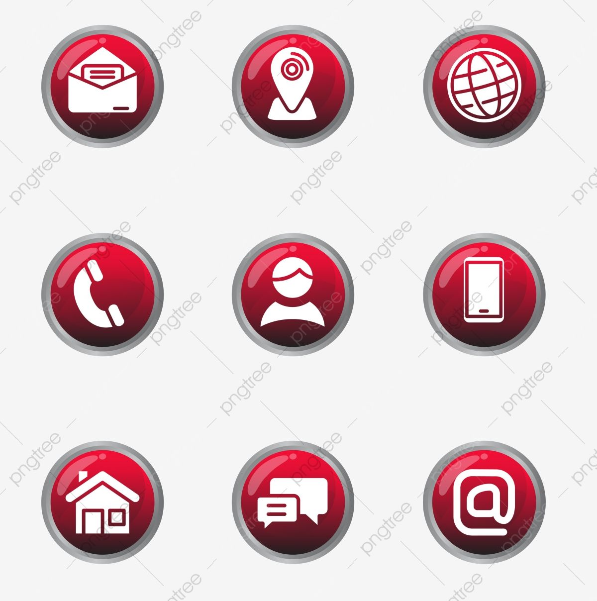 Set Of Contact Icon In Glossy Red Design Contact Icon Address Png And Vector With Transparent Background For Free Download Instagram Logo Red Design Icon Design