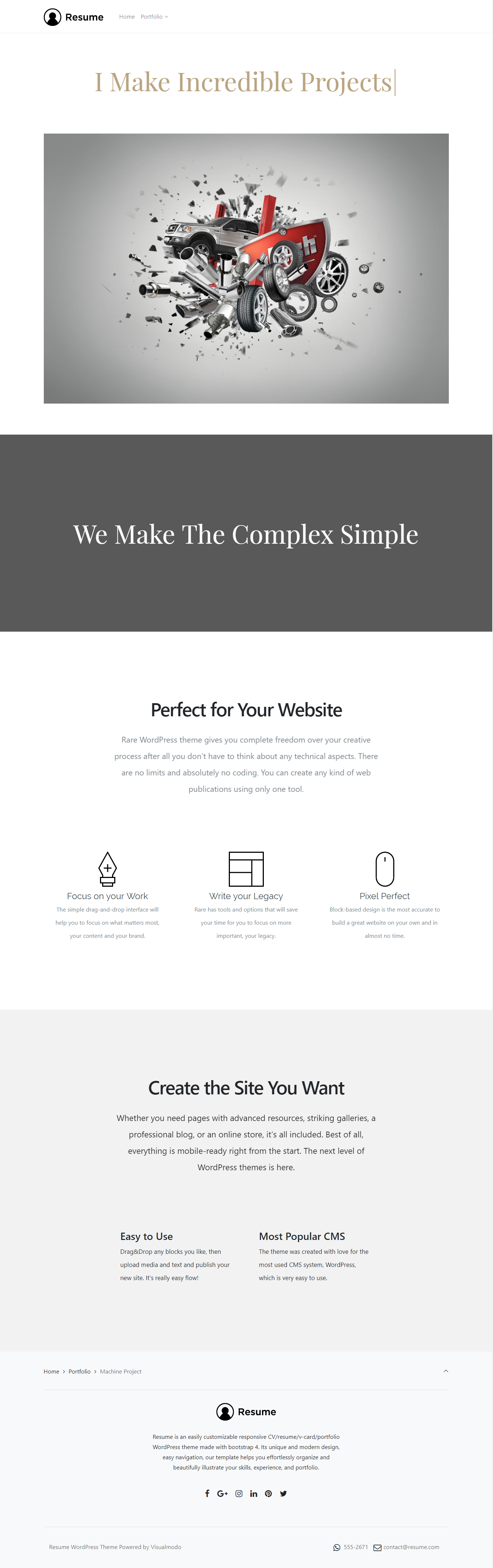 Resume WordPress Theme Responsive CV Template by