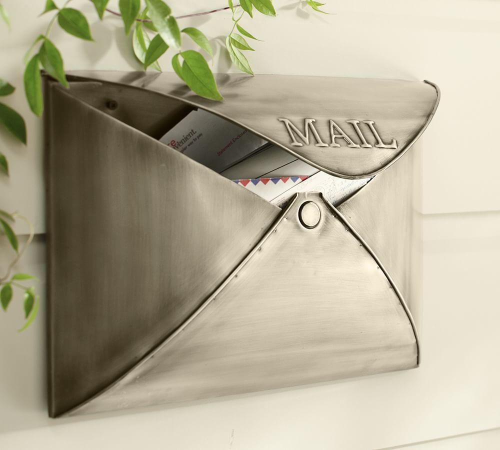 Envelope Mailbox Vintage Brass Finish At Pottery Barn Outdoor Front Door Decor Wall Mount Mailbox Metal Mailbox Mounted Mailbox