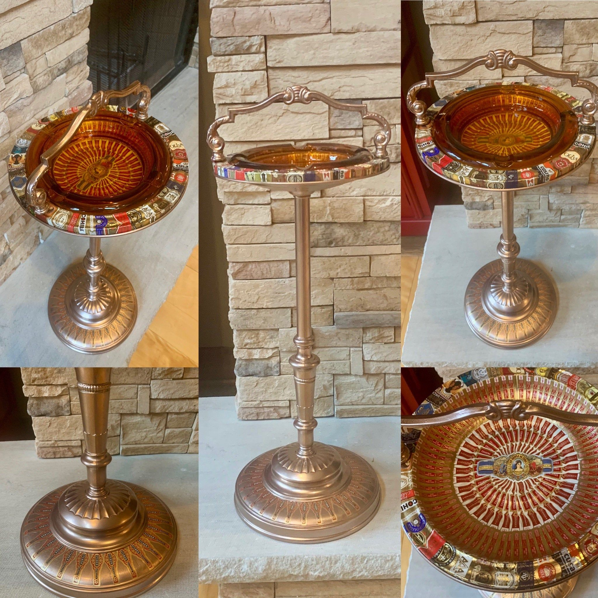 Ashtray on stand  bowl on a stand Vintage Solid Brass and copper heavy and high