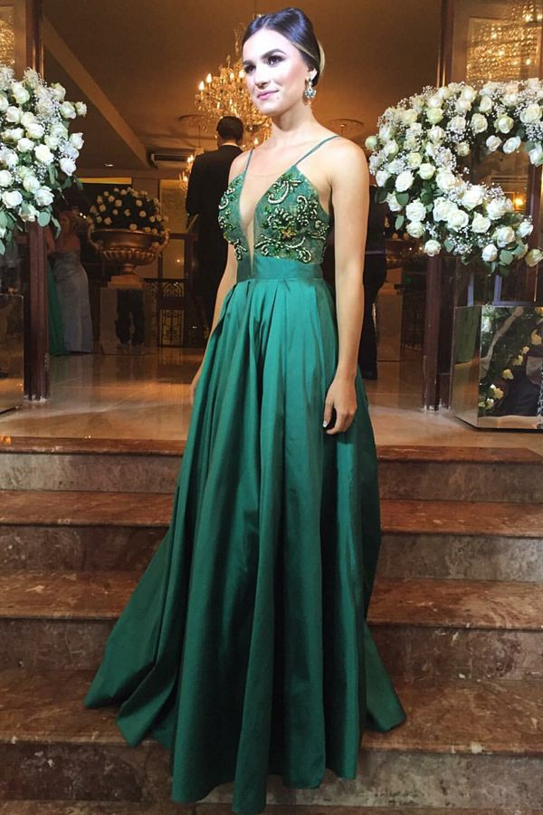 cc3ee18b6ec A-Line Spaghetti Straps Floor-Length Hunter Satin Prom Dress with ...