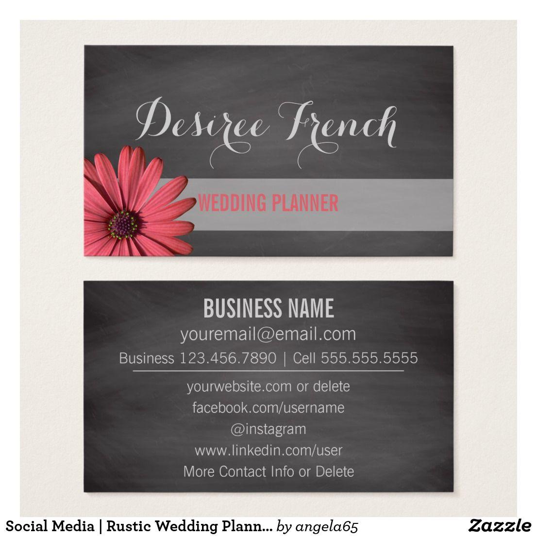 Social Media Rustic Wedding Planner Chalkboard Business Card Zazzle Com Wedding Business Card Wedding Planner Business Printing Business Cards