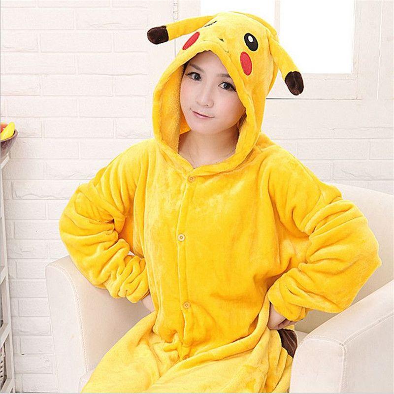 ce3befc63a Pijamas Animal Pijama Licorne Pikachu de La Manga Completa de Las Mujeres  Conjuntos de Pijamas de Las Mujeres Ropa de Dormir de Poliéster Con Capucha  Animal ...