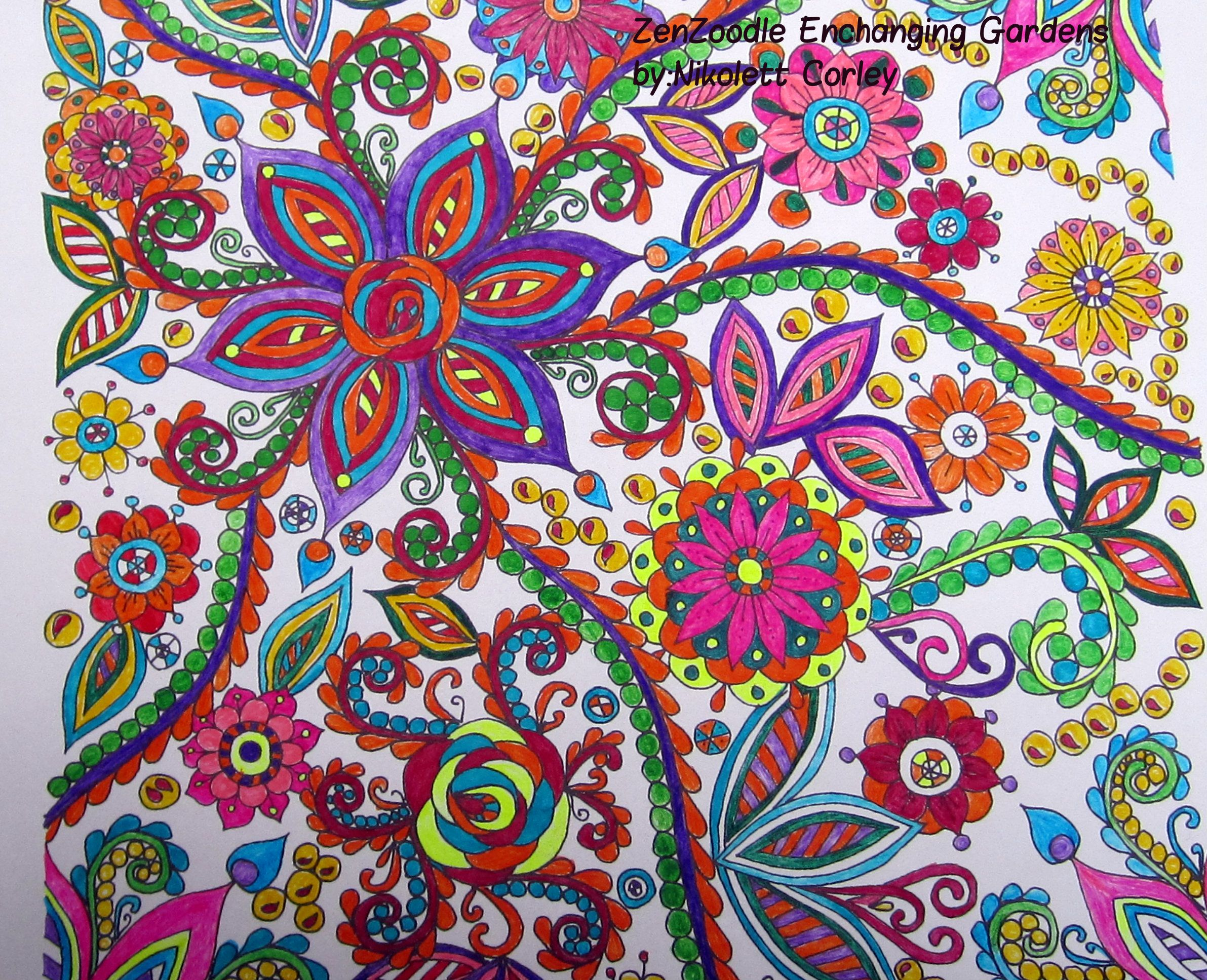 Zendoodle coloring enchanting gardens - This Is From Zendoodle Enchanting Gardens Coloring Book I Used Micro Fine Point Ink Pens