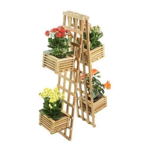 Banqueta Escada Ou Escada De Madeira Que Vira Floreira E