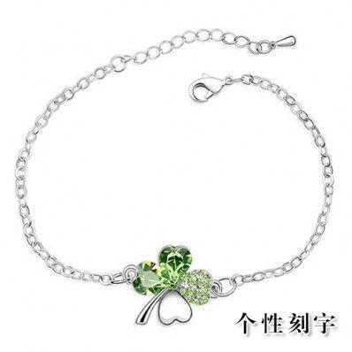 Silver crystal four leaf clover bracelet female birthday gift