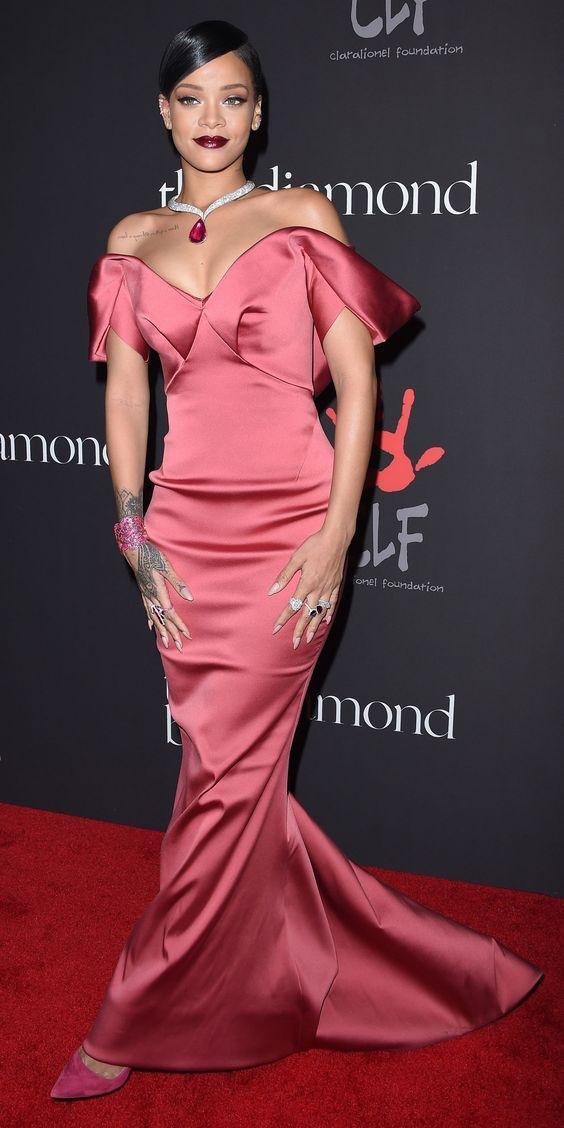 Rihanna wearing a Zac Posen red carpet dress.   Fashion   Pinterest
