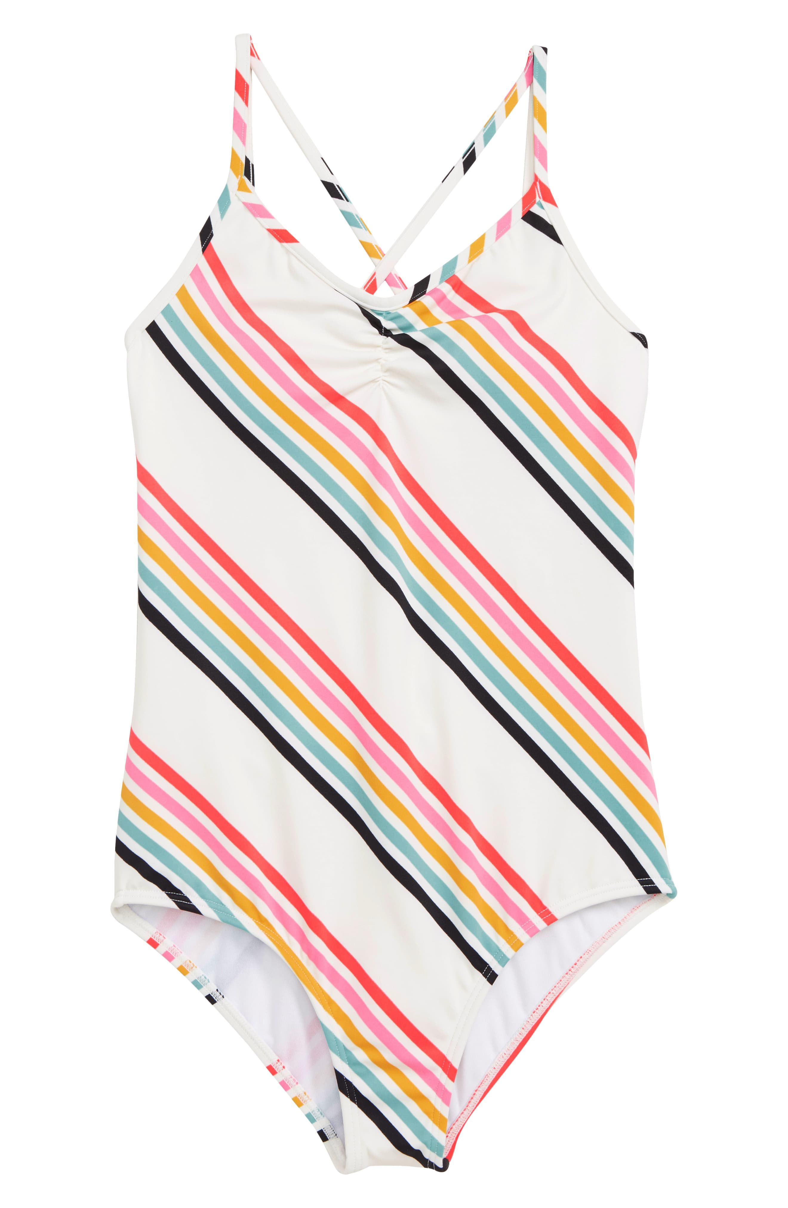 74baf345cc Girl's Billabong Seeing Rainbows One-Piece Swimsuit, Size 12 - White ...