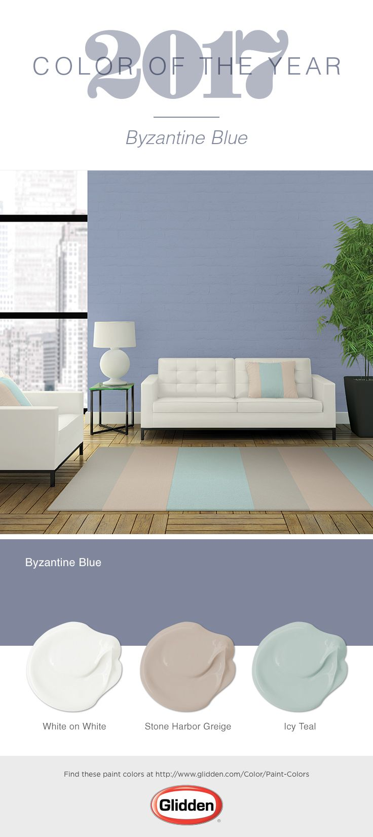 Byzantine Blue The Glidden 2017 Color Of Year Is Recommended For Any Do It Yourself Homeowner Looking To Create Balance In Life And Elish A
