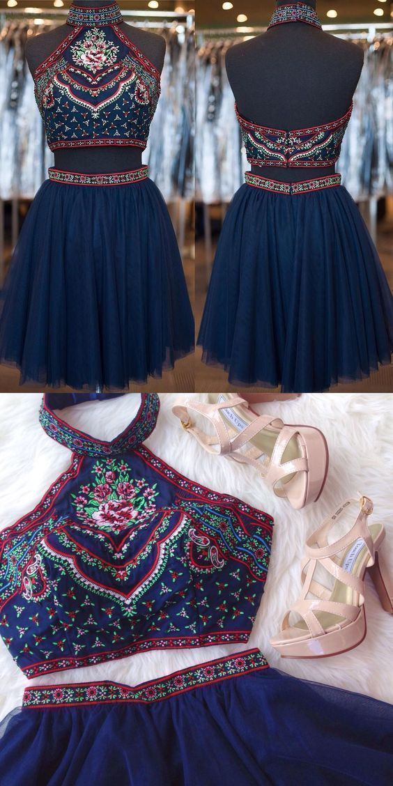 Two-Piece High Neck Short Tulle Navy Blue Homecoming Dress with Embroidery