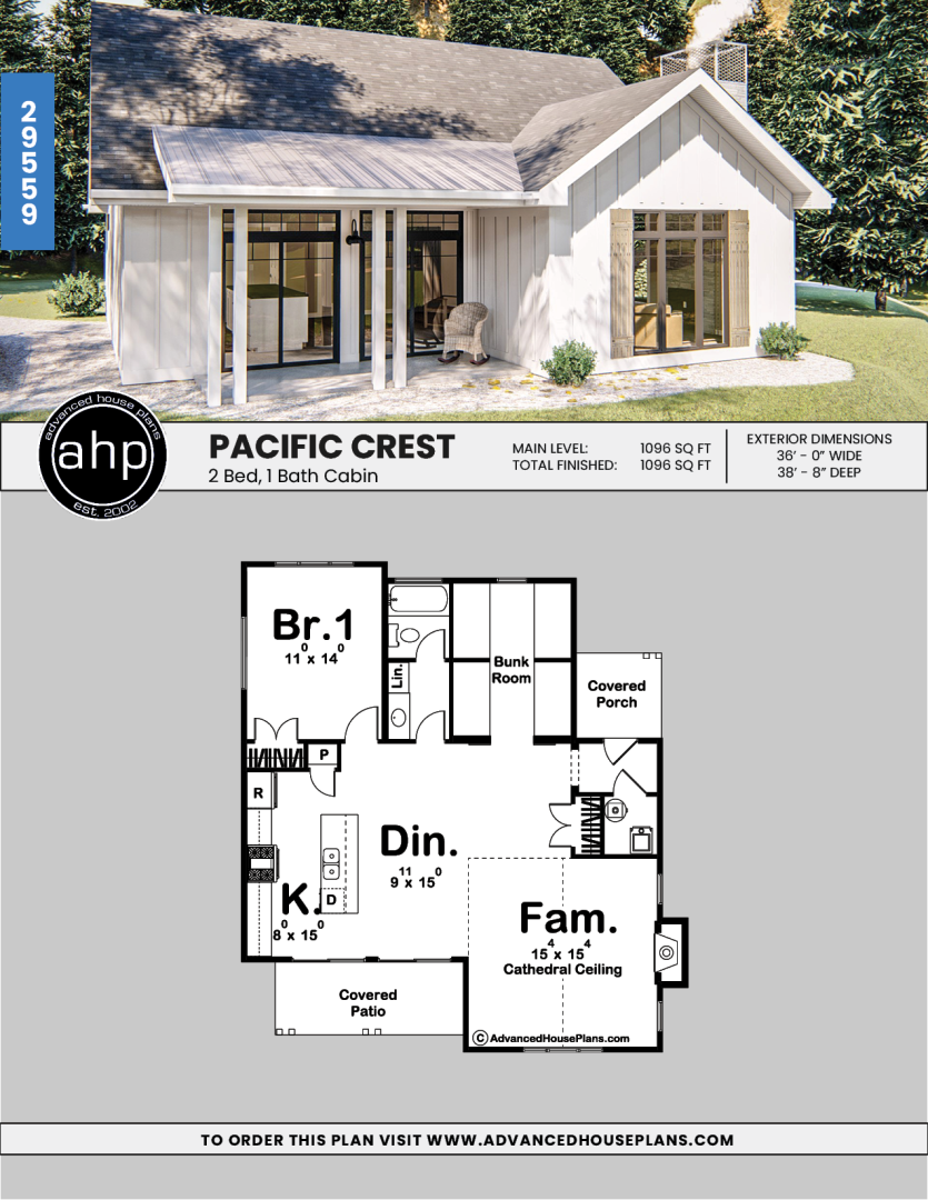 Modern Farmhouse Cabin Plan | Pacific Crest | Tiny house floor plans, Tiny house  cabin, House plans