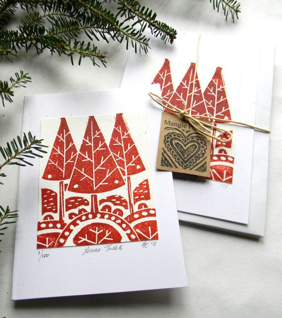 Hand Printed Original Lino Print Christmas Trees By