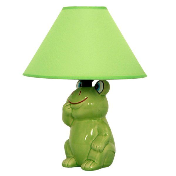 Home Design Zymeth Aluminum Table Lamp Part - 22: Green Frog Ceramic Table Lamp With Green Fabric Shade - Indoor Figurine  Lamps - Amazon.com
