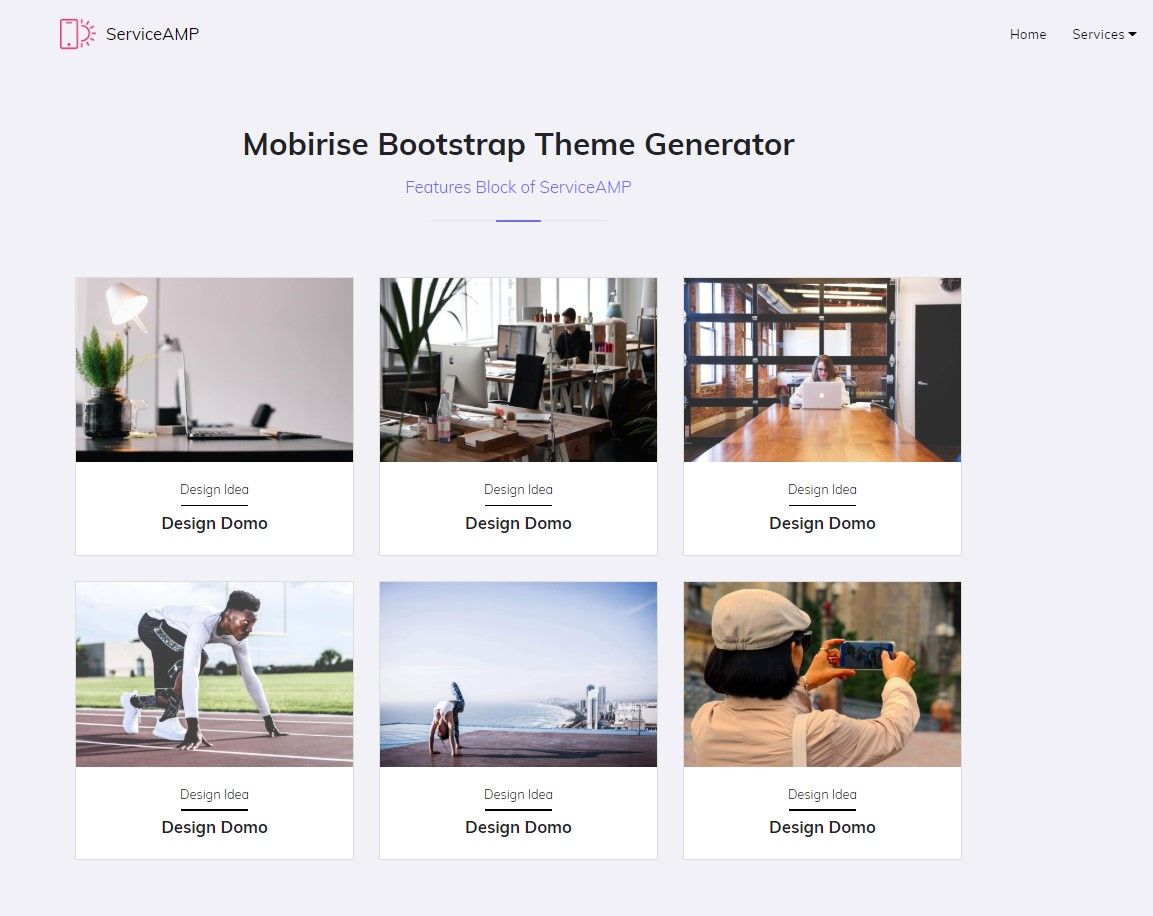 Mobirise Bootstrap Theme Generator Features Block Service Design Website Design Layout Layout Design