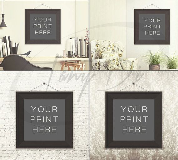 Square Frame On Wall Photoshop Print Mockup Png Black White Wood Frame And Mat Smart Object Mock Up Scene Creator F 11 W 2 Frames On Wall Frame Wall