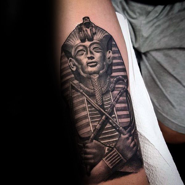Realistic King Tut Stone Mens Forearm Tattoos | Mis ...