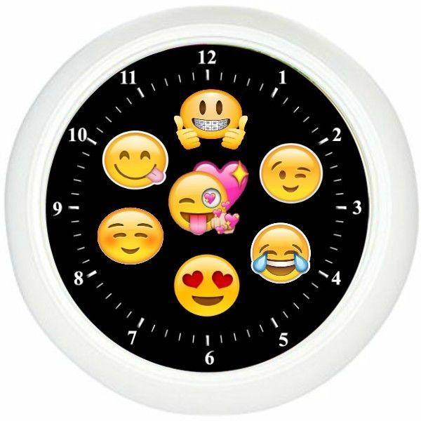 Smile Emoji Wall Clock Kids Room Wall Decor Bedroom Decor ...