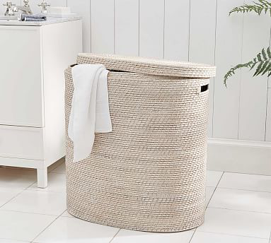 Tava Double Hamper White Wash Bath Wastebaskets Hampers
