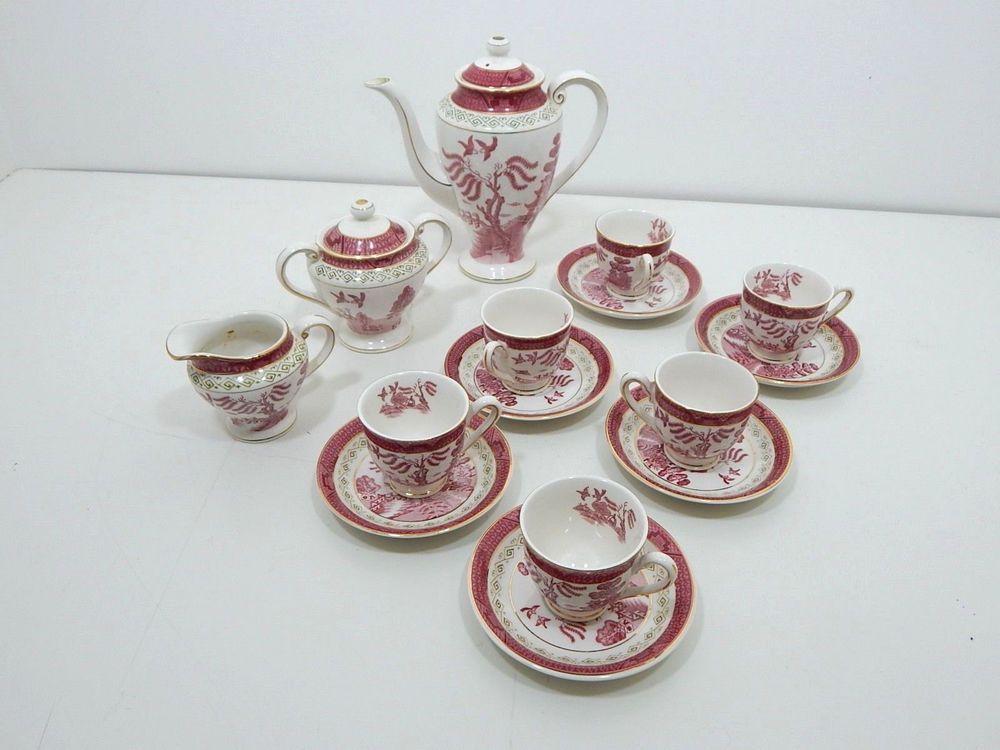 Vintage Nikko Double Phoenix Pink Red Willow Ware Complete Tea Set & Vintage Nikko Double Phoenix Pink Red Willow Ware Complete Tea Set ...