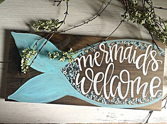 Mermaid   Home Decor   Hand Painted Sign