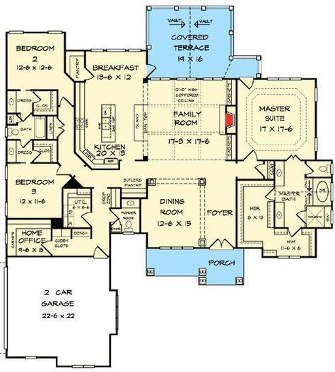 Plan 36034DK: One Level Luxury Craftsman Home