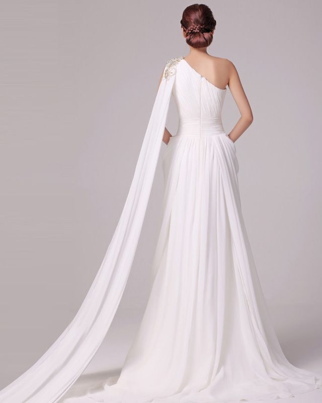 Elegant chiffon one shoulder charmeuse grecian a line for Grecian chiffon wedding dress