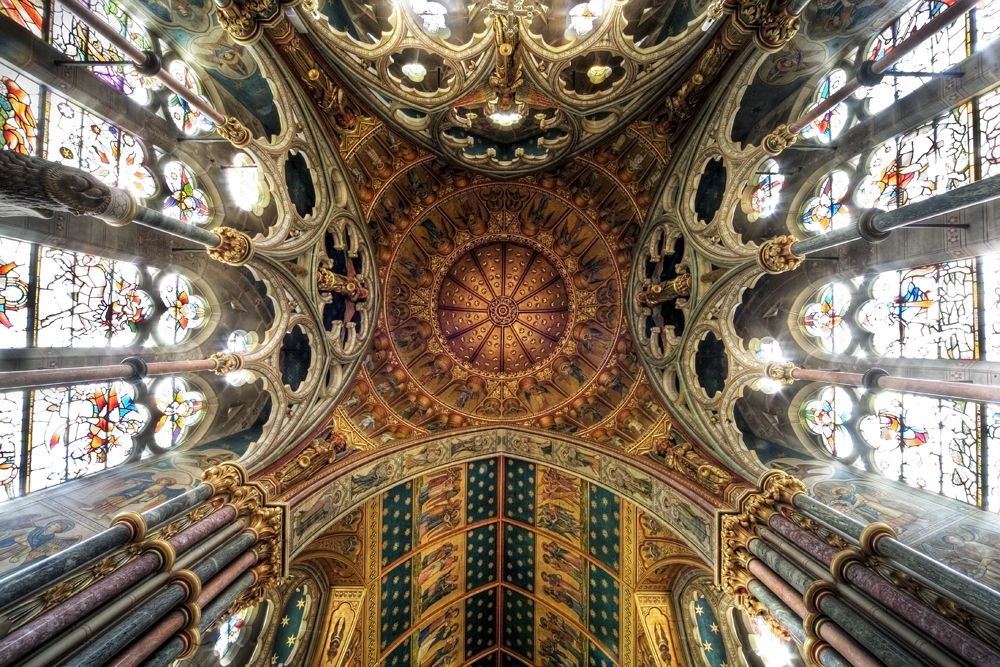Amazing cathedral dome with spectacular ceiling, column, window and