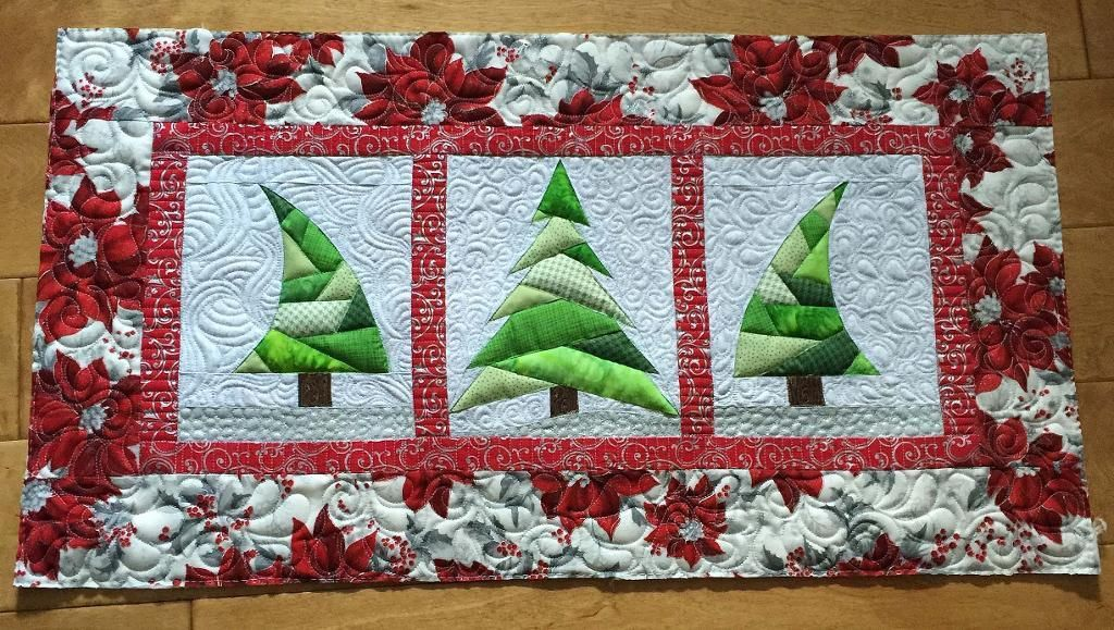 paper pieced mini tree quilt or table runner christmas runner christmas tree quilted table runner