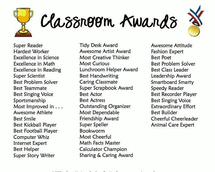 Classroom Awards Make Kids Feel Special Classroom Awards School Awards Kindergarten Awards
