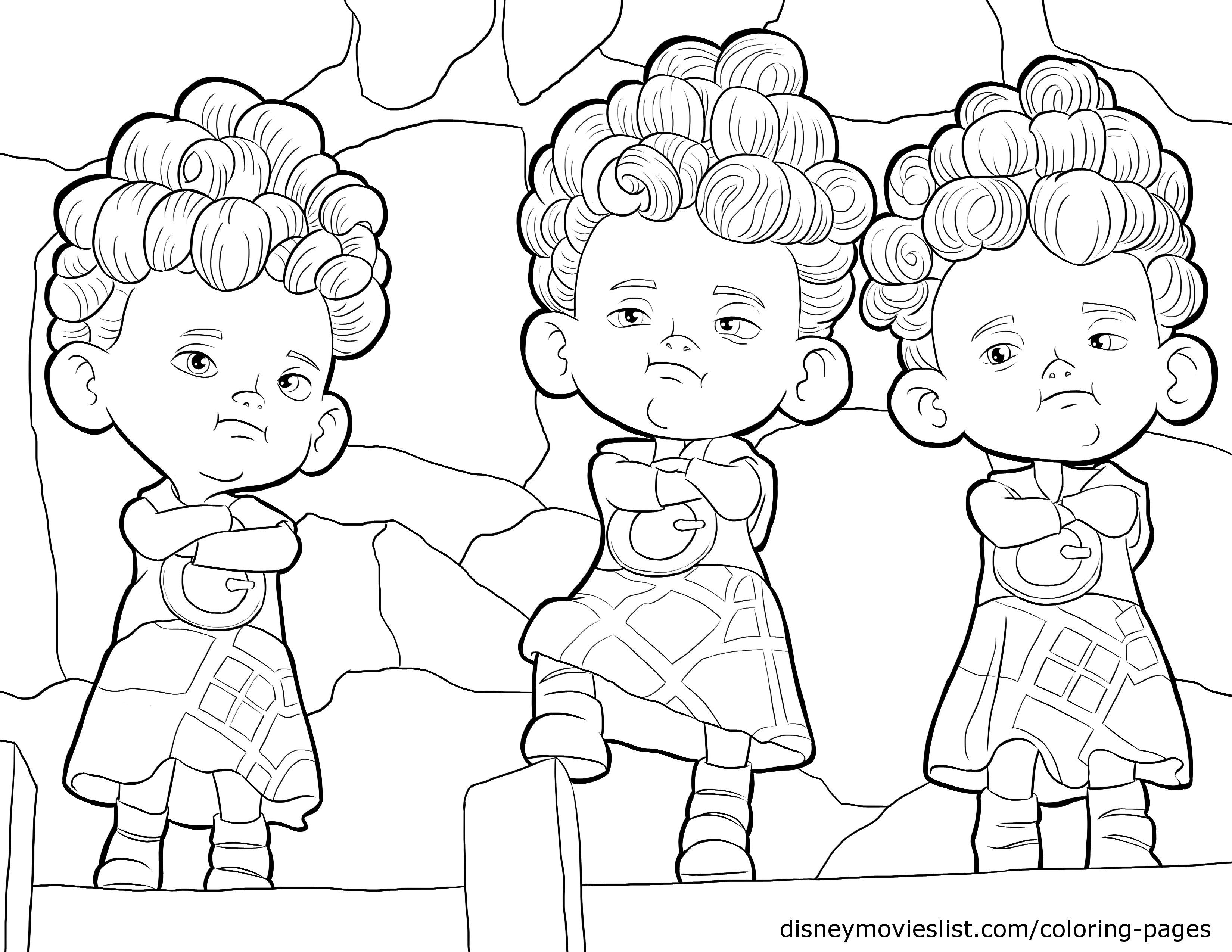 Disney Pixar Brave The Triplets Harris Hubert And Hamish Coloring Pages Sheet