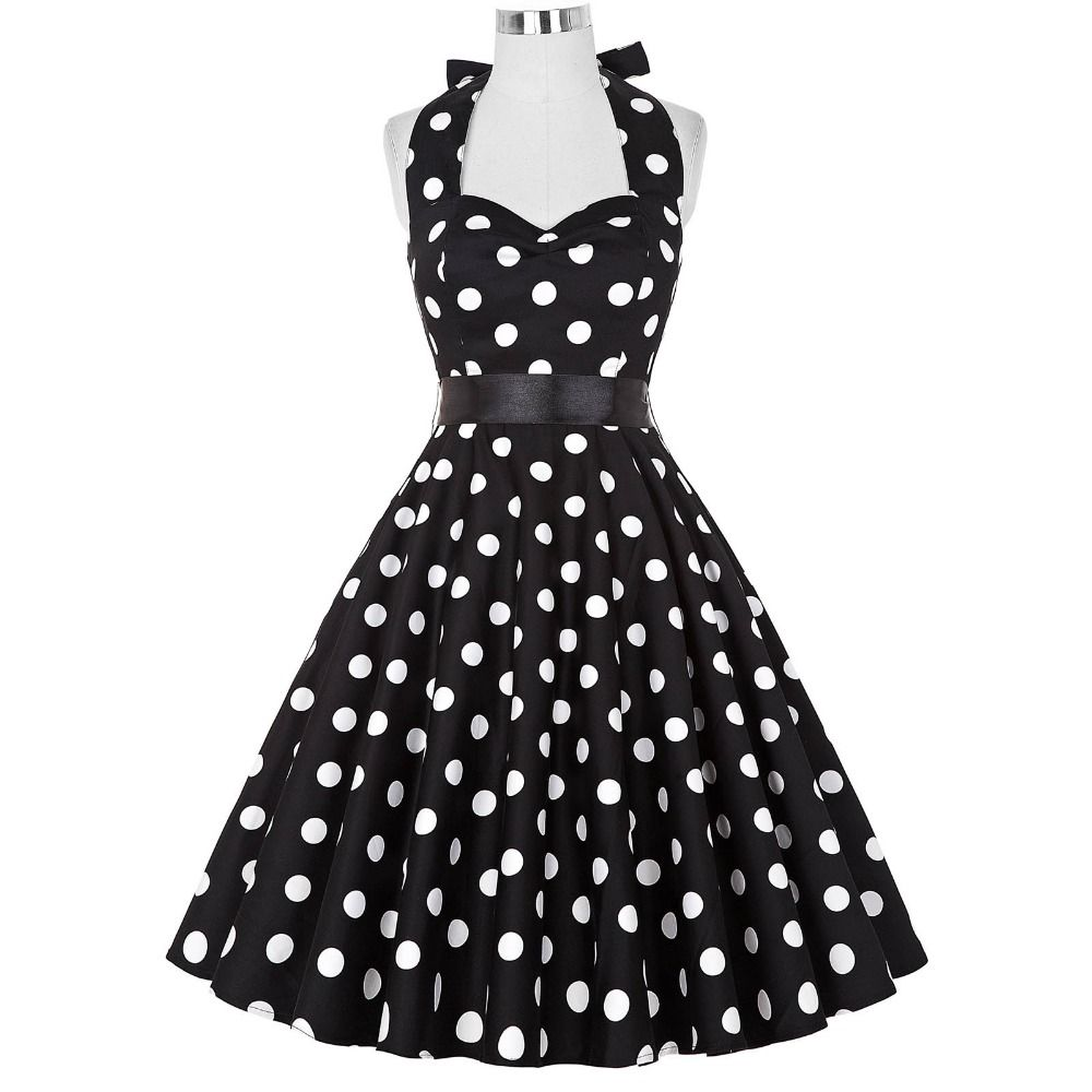 Polka dot halter dress plus size
