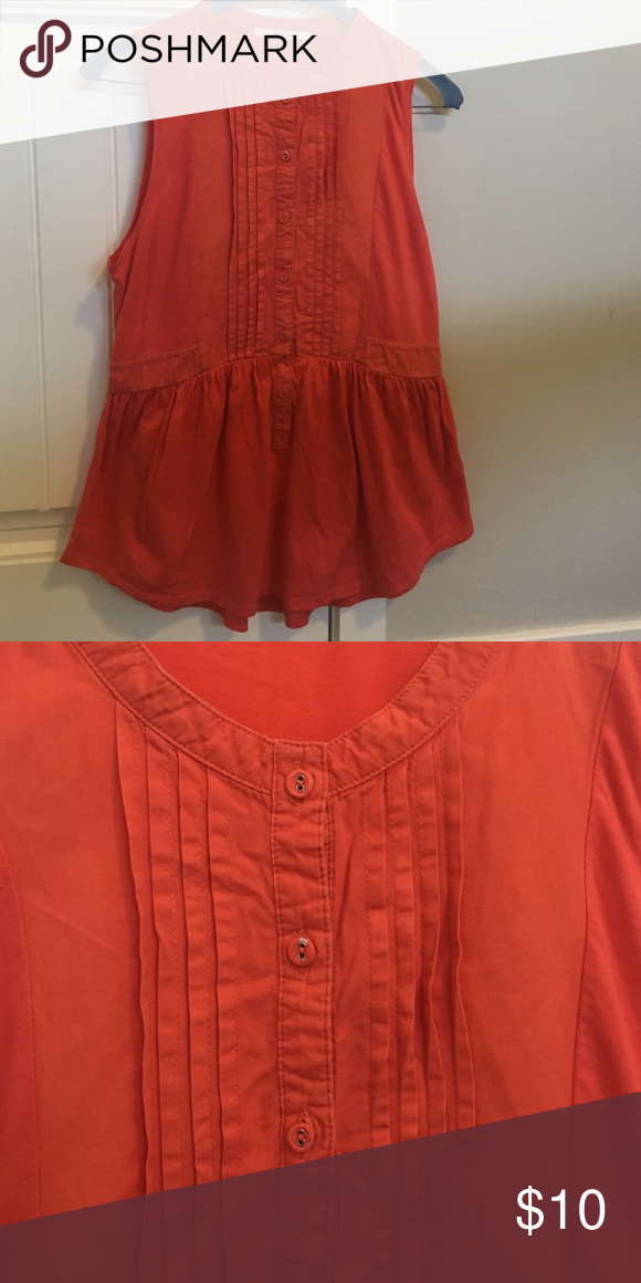 14db7b2974d8 Anthro Coral button up sleeveless top Normal wear Anthropologie Tops Tank  Tops