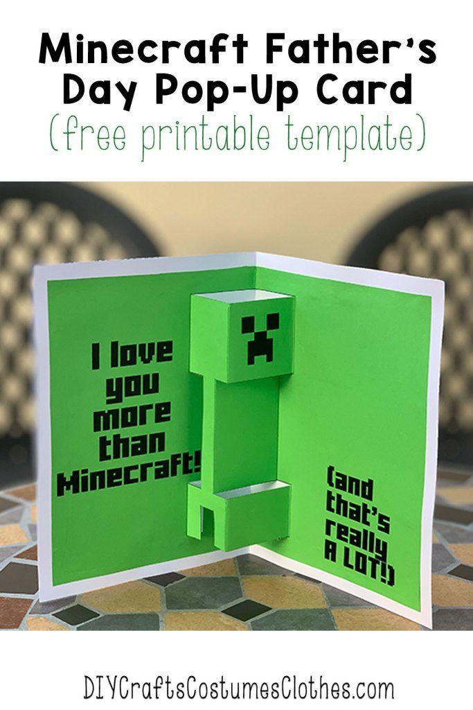 Minecraft Father S Day Card Minecraft Birthday Card Diy Pop Up Cards Card Making Kids