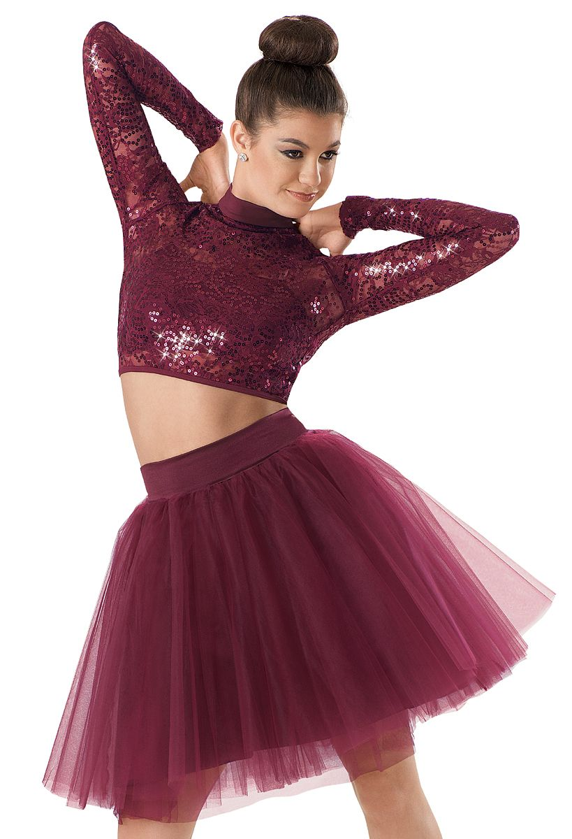 Weissmanu2122 | Sequin Lace Long Sleeve Crop Top | dance outfit | Pinterest | Long sleeve crop top ...