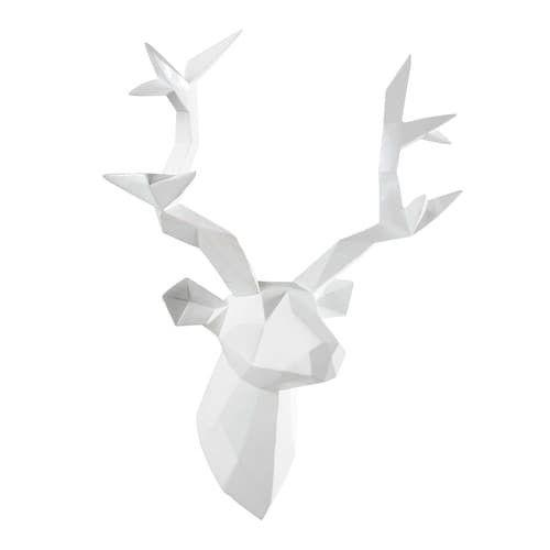 déco murale tête de cerf en résine blanche 45 x 47 cm origami