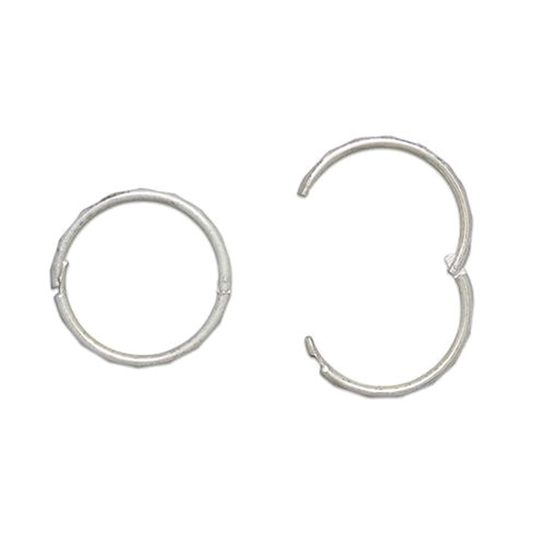 13MM Sterling Silver Hoop Earrings - Hinged Hoops - Plain and Simple tbl0T