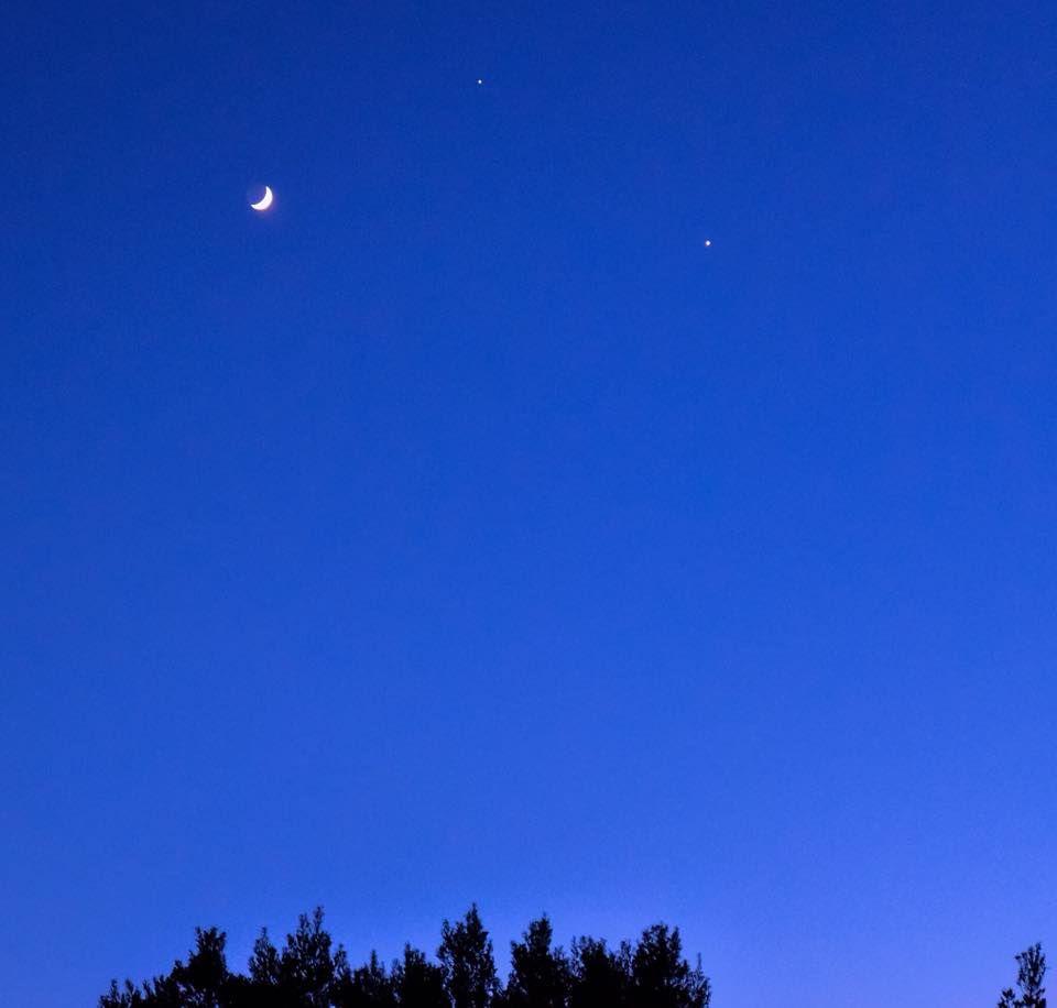 Moon, Jupiter, Venus, Summer Solstice, 2015