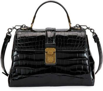 0f65357cb122 Bottega Veneta Piazza Small Crocodile Top-Handle Satchel Bag ...