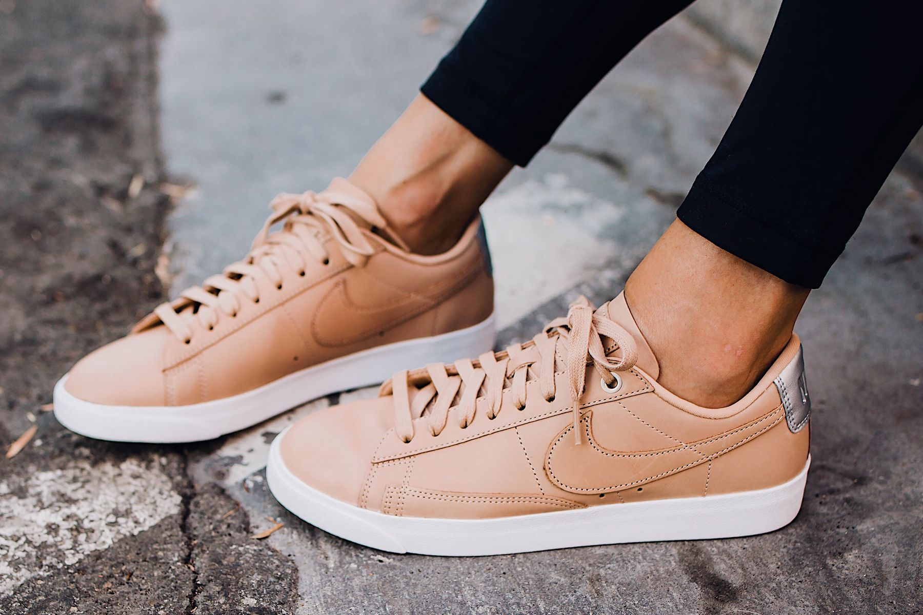 94a3b12ddd Woman Wearing Nordstrom Nike Blazer Low Top Sneaker Beige Fashion Jackson  San Diego Fashion Blogger Street Style