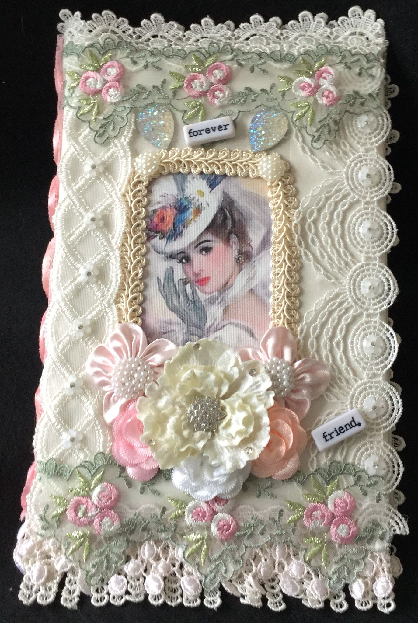 A removable book cover shabby chic journal lace crafts