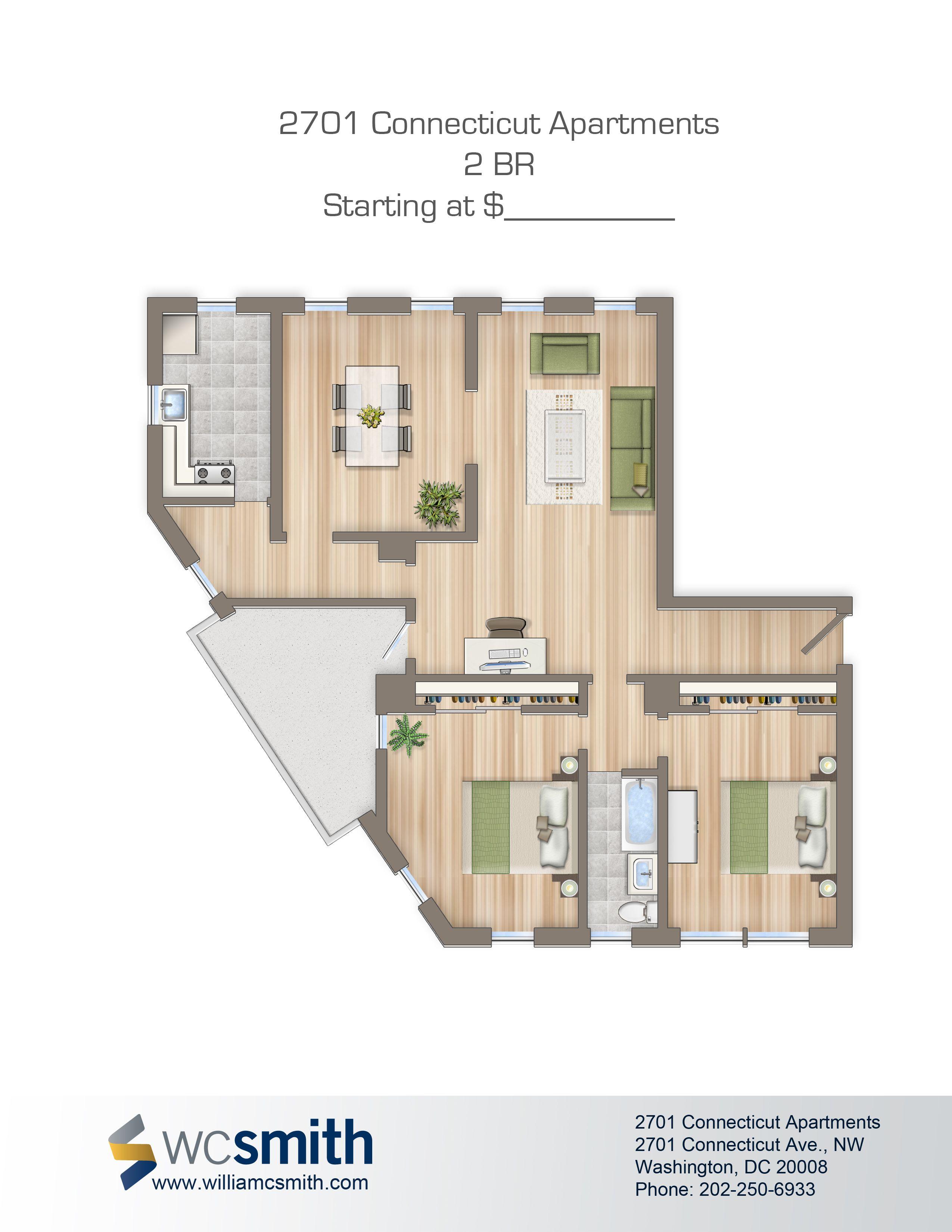 2701 CONN. AVE. N.W 2 bedroom floor plans, Floor plans